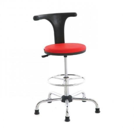 Sabit Yıldız Krom  Ayaklı Bar/Banko Sandalyesi - tcs14
