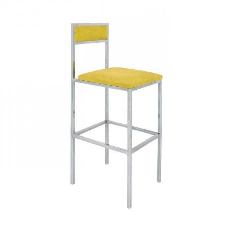 Yellow Leather Upholstered Chrome Bar Chair - mbs36
