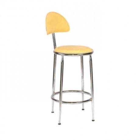 Sarı Deri Döşemeli Krom İskeletli Bar Sandalyesi - mbs27