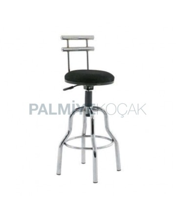 Chrome Leg Metal Bar Chair with Iron Backrest