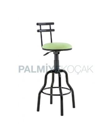 Black Pipe Leg Green Leather Upholstered Secretary Chair