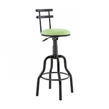 Siyah Boru Ayaklı Yeşil Deri Döşemeli Banko/Sekreter Sandalyesi - tcs20