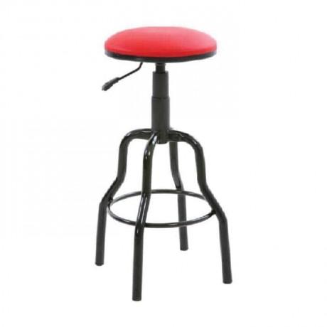 Siyah Boyalı Kırmızı Deri Döşemeli Bar Taburesi - tcs22