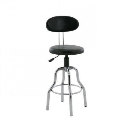 Siyah Deri Döşemeli Dörtlü Sabit Metal Ayaklı Bar/Banko Sandalyesi - tcs19