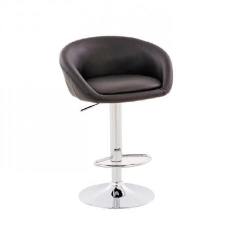 Siyah Deri Döşemeli Krom Ayaklı Bar Sandalyesi - tcs04