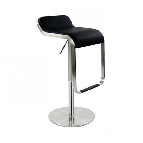 Siyah Deri Döşemeli Metal Bar Sandalyesi - prs13