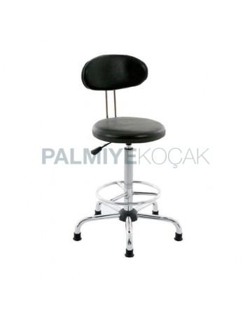 Black Leather Upholstered Star Leg Bar Chair