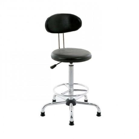 Siyah Deri Döşemeli Yıldız Ayaklı Bar/Banko Sandalyesi - tcs17