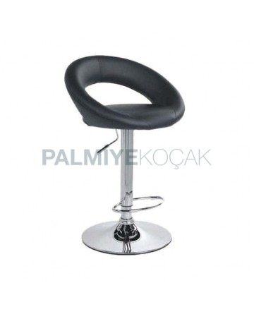 Black Leather Shock Absorber Kitchen Bar Chair