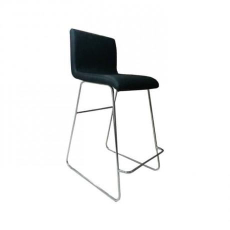Siyah Derili Metal Ayaklı Mutfak Bar Sandalyesi -