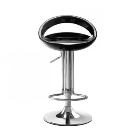 Siyah Fiberli Krom Ayaklı Amortisörlü Bar Sandalyesi - prs05