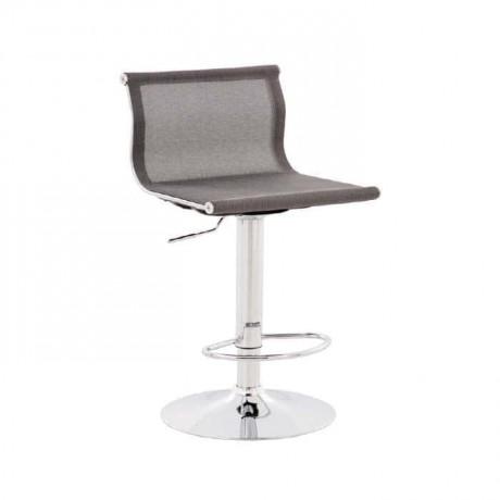 Siyah Fileli  Krom Ayaklı Bar Sandalyesi - tcs02
