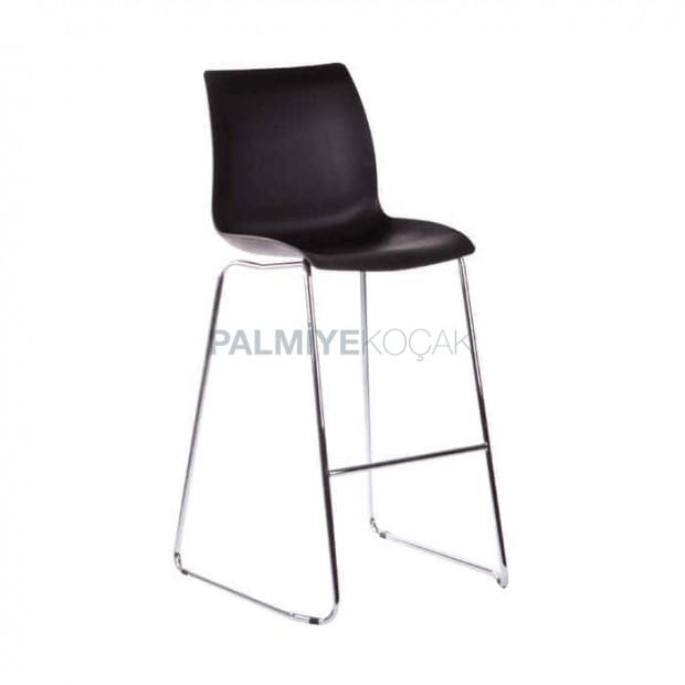 Siyah Plastik Oturaklı Metal Bar Sandalyesi