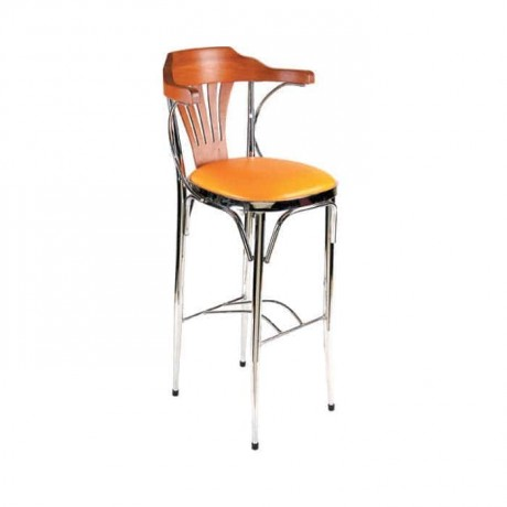 Tonet Kollu Krom İskeletli Bar Sandalyesi - mbs32
