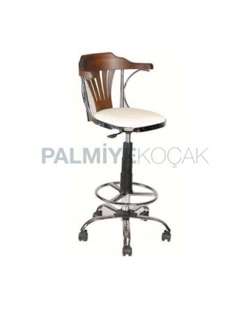 Wheeled bar Chairh with Thonet Arm