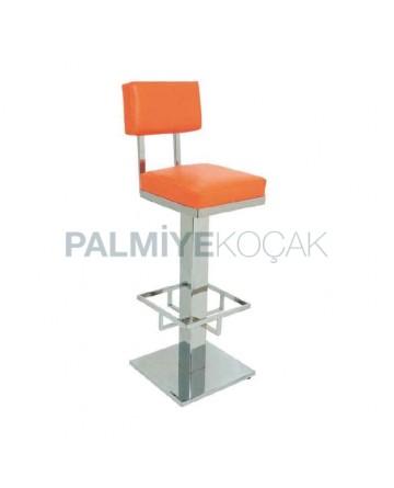 Orange Leather Upholstered Stainless Square Base High Bar Stool