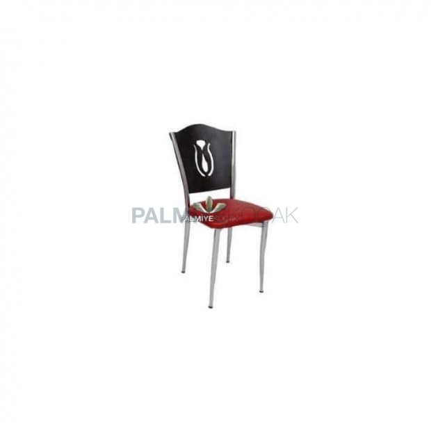 Metal Kaplı Wenge Restaurant Sandalyesi