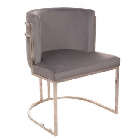 Gri Nubuk Döşemeli Metal İskeletli Modern Sandalye 1. Kalite - Metal Sandalye
