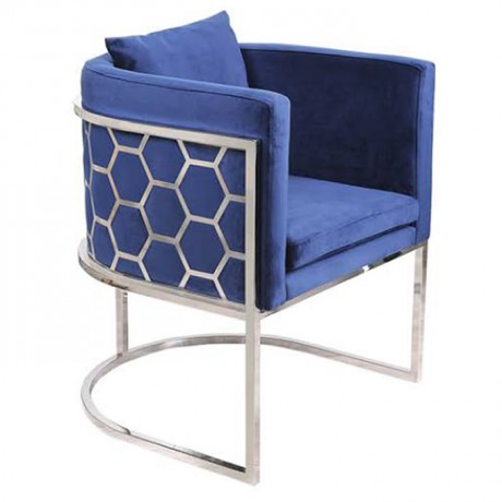 Mavi Kumaş Döşemeli Petek Modeli Sırtlı Metal Sandalye Sağlam - Metal Sandalye