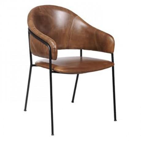 Metal Suni Deri Döşemeli Metal Sandalye - Metal Sandalye