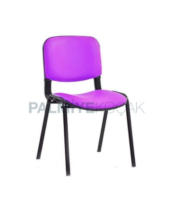 Pink Leather Black Painted Conference Chair