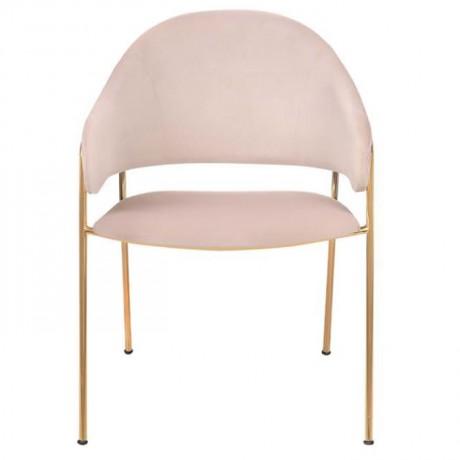 Pirinç Ayaklı Krem Kumaş Döşemeli Metal Sandalye - Metal Sandalye