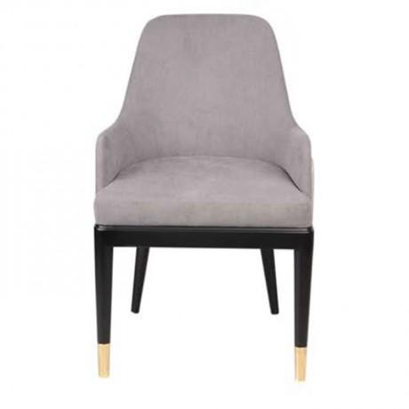 Siyah Ahşap Ayaklı Gri Kumaş Döşemeli Baklava Desenli Sırt Yüzeyli Poliüretan Sandalye - yte158