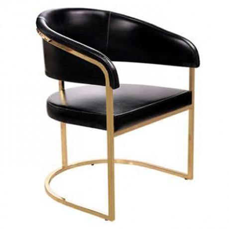 Siyah Deri Kaplı Metal Sandalye - Metal Sandalye