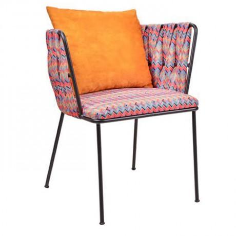 Turuncu Yastıklı Kumaş Örgülü Metal Sandalye - yte151