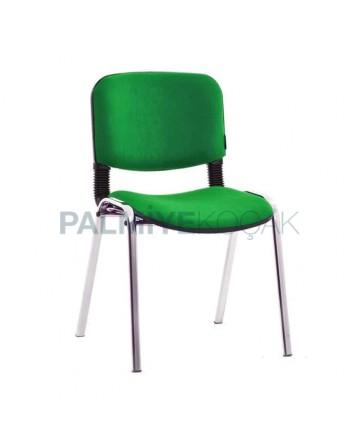 Green Fabric Chrome Leg Chair