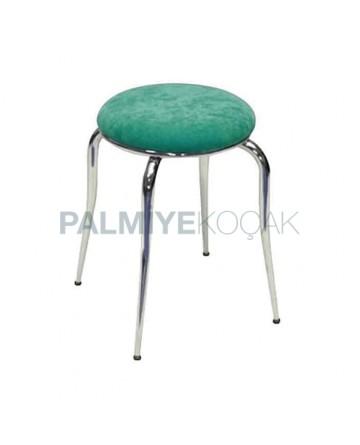 Fabric Upholstered Metal Chrome Pipe Leg