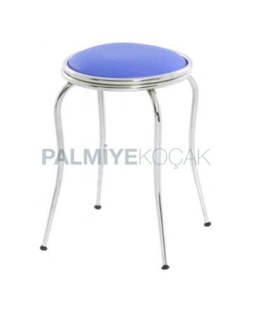 Blue Leather Upholstered Chromium Tubes Double Circle Stool