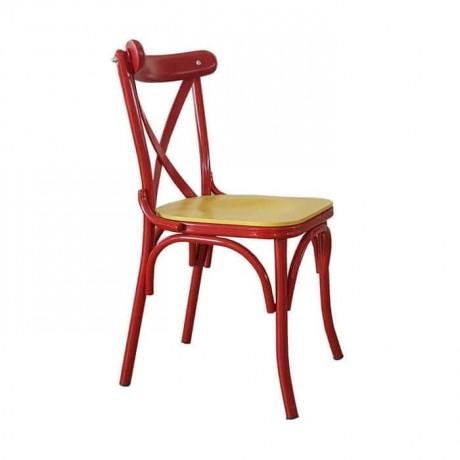 Kırmızı Boyalı Metal Thonet Sandalye - tms2598