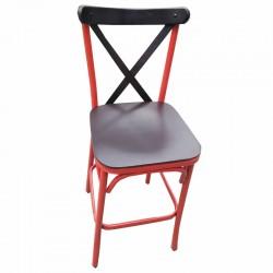 Red Black Metal Tonet Bar Chair
