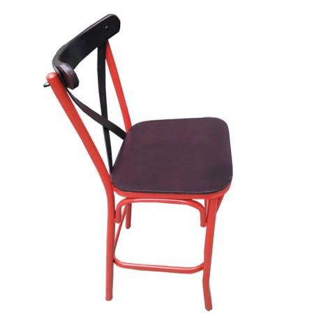 Kırmızı Siyah Metal Tonet Bar Sandalye - tms2601