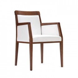 Antique White Upholstered Restaurant Arm Chair