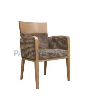 Açık Eskitme Boyalı Kadife Kumaşlı Kollu Sandalye