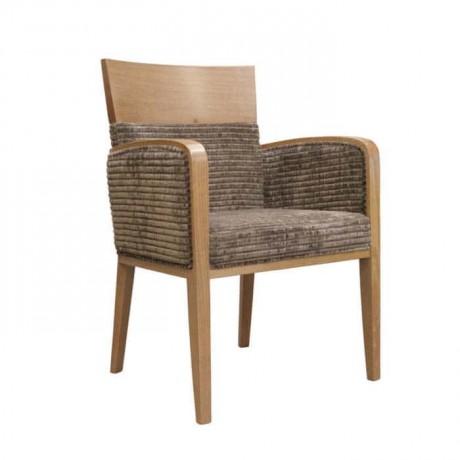 Açık Eskitme Boyalı Kadife Kumaşlı Kollu Sandalye - mska90
