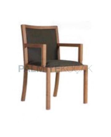Açık Eskitme Boyalı Koton Kumaş Döşemeli Ahşap Sandalye