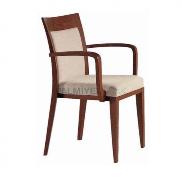 Açık Eskitme Krem Orijinal Deri  Döşemeli Modern Sandalye