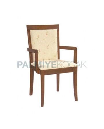 Wooden Walnut Colorful Restaurant Arm Chair