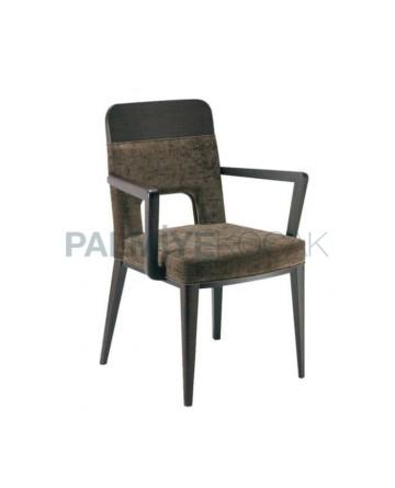Ahşap Kollu Venge Renkli Kumaş Döşemeli Kollu Sandalye