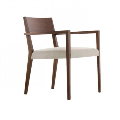 Wooden Contra Cream Fabric Upholstered Chair - mska13