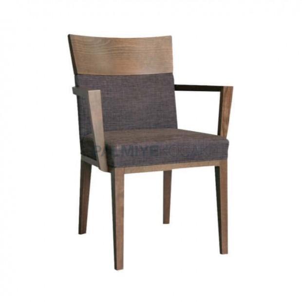 Ahşap Tepeli Kollu Gri Kumaşlı Cafe Sandalye
