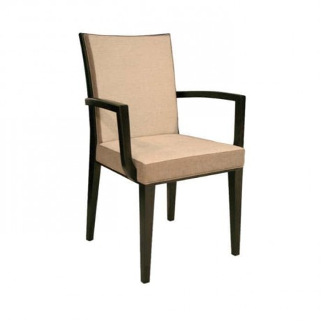Beige Leather Upholstered Black Painted Hotel Chair - mska37