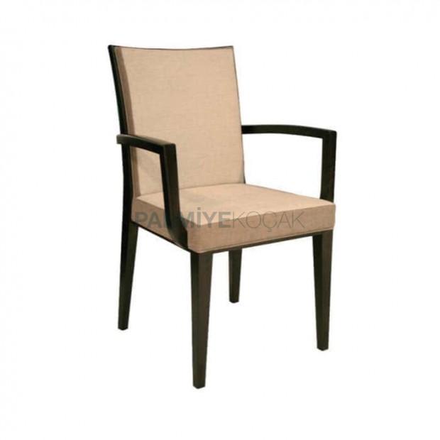 Bej Deri Döşemeli Siyah Boyalı Hotel Sandalye