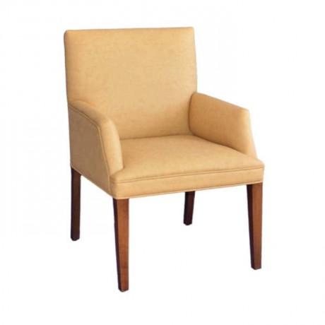 Bej Deri Döşemeli Yarım Kollu Modern Sandalye - mskb42