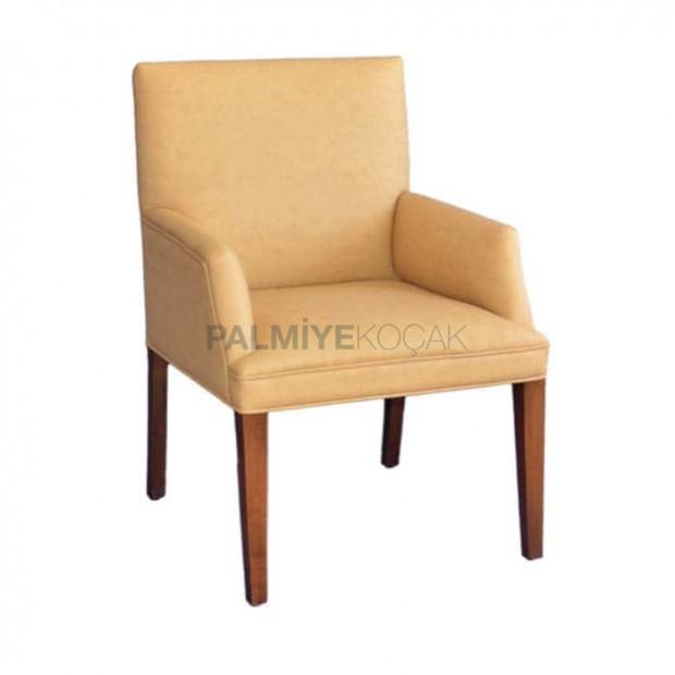 Bej Deri Döşemeli Yarım Kollu Modern Sandalye