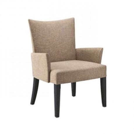 Bej Kumaşlı Siyah Boyalı Kollu Modern Sandalye - mskb17