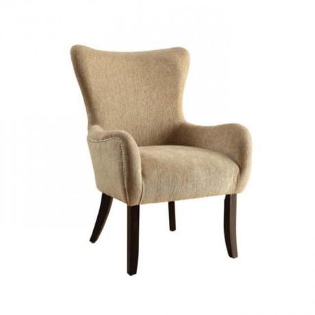 Bej Silinebilir Kumaşlı Ahşap Ayaklı Kollu Sandalye - mskb60